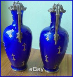 Signé BACCARAT, rare paire de vases opaline monture BRONZE! Decor Lyshermine