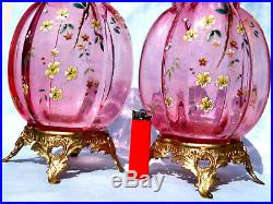 Somptueuse paire de vase BACCARAT 1900, pied bronze, parfait, era daum Galle