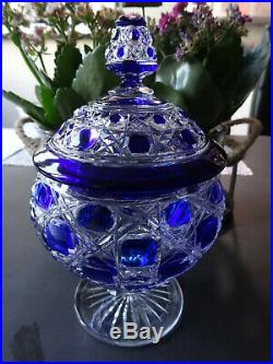 Sucrier Cristal Baccarat Overlay Bleu Modele Diamants Pierreries