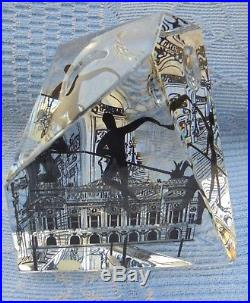 Sulfure Presse Papier Paperweight Signé Baccarat Opéra De Paris D2304