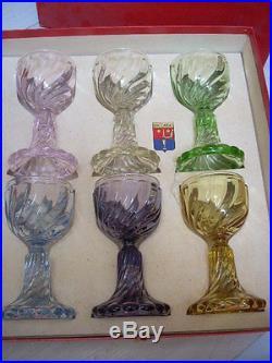 Superbe Serie 6 Verres Cristal De Couleur Signes Baccarat Modele Bambou Tors