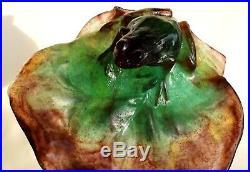 Superbe coupe Daum grenouille éra Gallé Lalique Baccarat