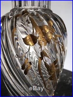 Tres Rare Paire De Vases en cristal de Baccarat Décor Doré Fleurs Papillons
