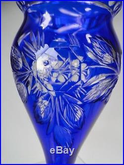 VASE CRISTAL DOUBLE ART DECO Ca 1920 DECOR OVERAY FLEURS SAINT-LOUIS BACCARAT
