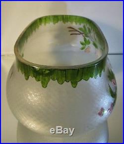 Vase Jardinière Art Nouveau cristal gravé acide fleurs émaillées Baccarat Legras