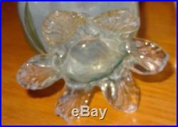 Vase à corolle verre émaillé soufflé canne 1900 Legras Clichy baccarat montjoye