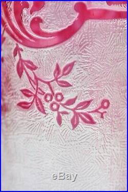 Vases rouleaux en cristal dégagé à l'acide de Baccarat modèle Eglantier rose