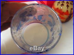 Verre Baccarat 19eme Degage A L Acide Motif Iris Cristal Art Nouveau Bicolore
