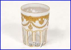 Verre cristal Baccarat dorure palmettes fleurs antique french glass XIXème